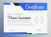 Professional Blue Certificate Of Appreciation Template Vector Illustration poster