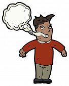 homem dos desenhos animados com respiração de fumantes