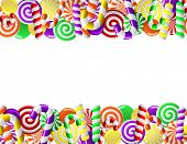 picture of lolli  - Frame made of colorful candies - JPG