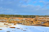 Sand Mining In Winter Conditions In An Industrial Quarry. Conveyor Belt In Mining Quarry, Mining Ind poster