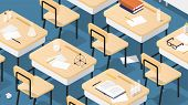 Vector Isometric Illustration Of Chemistry Classroom. Classroom Laboratory With Necessary Equipment, poster