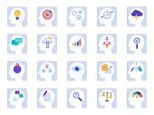 Brain Thinking Process Icons. Business Idea, Success Solution In Businessman Head And Human Brains P poster