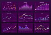 Abstract Data Charts. Statistic Graphs, Finance Line Chart And Marketing Histogram Graph Infographic poster