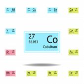 Periodic Table Element Cabaltum Color Icon. Set Of Chemical Sign Color Icon. Signs And Symbols Colle poster