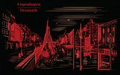 Pier Nyhavn In Copenhagen, Denmark. Landmark Of Denmark. Vector Hand Drawing Illustration In Red Col poster