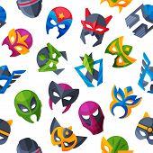 Hero Mask Vector Face Masque And Masking Cartoon Character Illustration Superhero Set Of Powerful Ma poster
