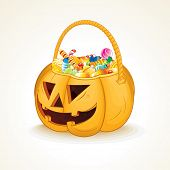 Tricks or Treats Halloween Jack O Lantern. Vector Illustration of Festive Basket with Sweets
