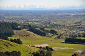 Canterbury Plains Stretching From Port Hills To The Southern Alps.