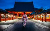 Japanese Lady In Kimono Dress Walking In Sensoji Temple, Asakusa City, Tokyo, Japan. This Image Can  poster