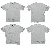 En blanco gris camisetas frente y dorso