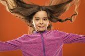 Kid Girl Long Healthy Shiny Hair. Little Girl Grow Long Hair. Teaching Child Healthy Hair Care Habit poster