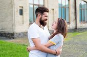 Happy Together. Couple In Love Walking Having Fun. Man Bearded Hipster And Pretty Woman In Love. Lov poster