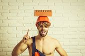 Young Handsome Bearded Macho Man Smiling Builder With Sexy Muscular Athletic Strong Body Has Strong  poster