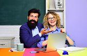 Smiling Teachers At Work. Couple Of Teachers In Classroom. World Teachers Day. Homework. School Job. poster