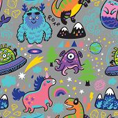 Rainbow Seamless Pattern With Magic Creatures In Cartoon Style. poster