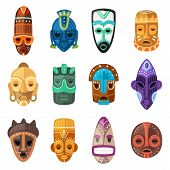 Tribal Mask Vector Cartoon African Face Masque And Masking Ethnic Culture In Africa Illustration Set poster