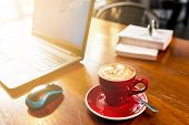 Coffee On Wooden Desk With Laptop, Hot Coffee With Laptop Background poster