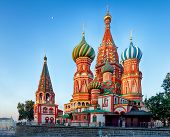 Moscow, Russia - Red Square View Of St. Basils Cathedral At Sunrise, Nobody poster