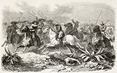 General de Mirandol pursuiving Aureliano cavalry near Los Llanos, Mexico. Created by Worms, publishe