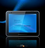 vector black tablet pad with a blue screen and a reflection on a blue background.