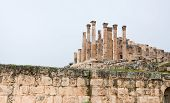 stock photo of artemis  - Artemis temple in ancient town Jerash in Jordan - JPG