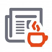 News icon: daily newspaper and hot coffee. Aligned according to pixel grid. Specially for Web and sm