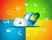 Cloud Computing concept background with a lot of icons: tablet, smartphone, computer, desktop, monit