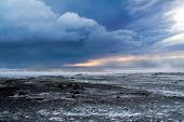 stock photo of arctic landscape  - A storm over the barren landscape of Iceland during Winter - JPG