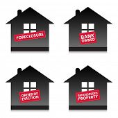 Four home foreclosure labels. Homes being repossessed by the bank.