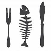 Cutlery knife fork fish  - illustration