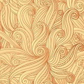 Abstract vector seamless hand-drawn hair pattern