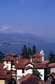 Town rooftops and lake Maggiore, Stressa, Italy.