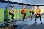 pic of kettlebell  - box jump people group and kettlebell man at gym - JPG