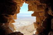 foto of masada  - View from Masada fortress in the direction of the Dead Sea - JPG