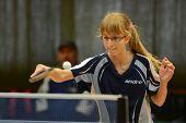 KAPOSVAR, HUNGARY - NOVEMBER 18: Vivien Tollas in action at a Hungarian National Championship II. table tennis game Kaposvar (blue) vs. Noszlop (white) November 18, 2012 in Kaposvar, Hungary.