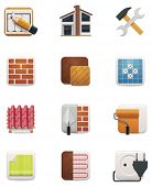 stock photo of bricklayer  - House renovation icon set - JPG