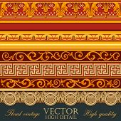 Vintage Borders Design. Floral pattern retro border tiling elements. Vector high detail.