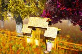 Traditional Wooden Gate in Japanese Garden 3D render