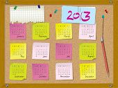 2013 Calendar - Week Starts On Sunday - Cork Board With Notes And Pushpins