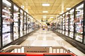 image of frozen food  - an aisle in a grocery store showing frozen foods - JPG