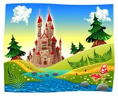 Panorama with castle. Raster, cartoon  illustration.
