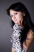 foto of underthings  - beauty brunette isolated on grey background - JPG
