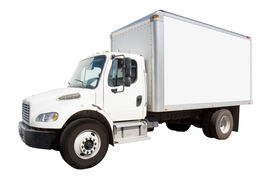 pic of moving van  - Plain white delivery truck with sides ready for custom text and logos - JPG