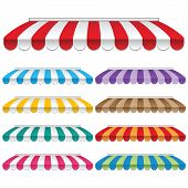 stock photo of awning  - Nine colored awnings - JPG