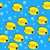 A Shoal Of Fish. Seamless Pattern