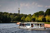 View On Victory Column In Tiergarten Park From Spree River, Berlin, German