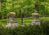 Two Flower Urns In Sunlit Garden