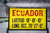 Zero Latitude Sign At Mitad Del Mundo, Ecuador