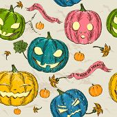 stock photo of drakula  - Halloween seamless background with pumpkin - JPG
