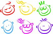 image of cartoon people  - A set of simple happy face icons isolated on white - JPG